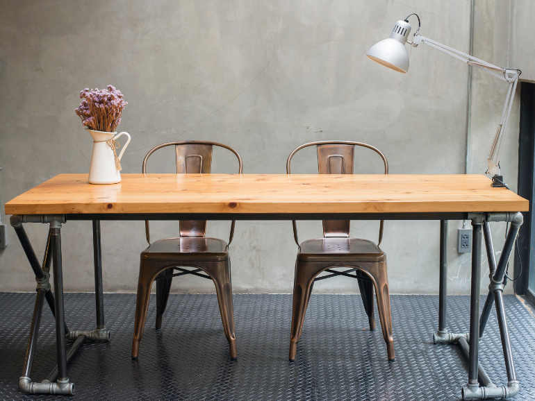 table with chairs used as a desk